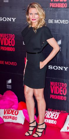 Cameron Diaz hit the Mexico City premiere of Sex Tape in a belted black Saint Laurent dress, complete with black accessories.