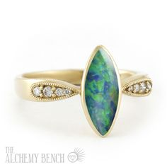 """""""Sunlit Sea - Enigma"""" Unique Engagement Ring with Opal, Diamonds and Gold 2560USD"""