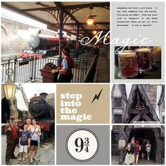 Harry Potter Wizarding World Hogwarts Express digital project life page using Project Mouse (Wizarding) by Britt-ish Designs and Sahlin Studio Harry Potter Scrapbook, Disney Scrapbook, Travel Scrapbook, Pocket Page Scrapbooking, Scrapbooking Layouts, Digital Scrapbooking, Digital Project Life, Universal Studios Florida, Train Rides