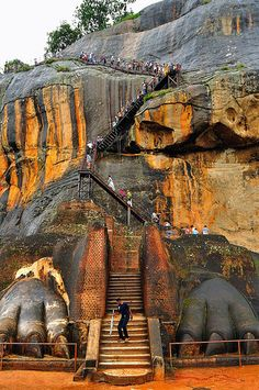 ↰✯↱lugares - View of Lion's Feet Gateway to Sigiriya ~ Central Province, Sri Lanka Places Around The World, Oh The Places You'll Go, Places To Travel, Places To Visit, Around The Worlds, Laos, Sri Lanka Holidays, Photo Voyage, Beau Site