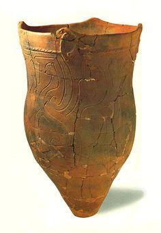 Deep clay pot. A human bone was put in this earthenware vessel.   Jomon period. Excavation place / Saitama Japan.   BC.2,500 - BC.1,200.