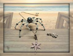Mini Stormy Beaded Spider with interchangable charms; Christmas Spider; Lucky Spider; Spider Legend; An Original Spectacled Spider by TremorsToTreasures on Etsy