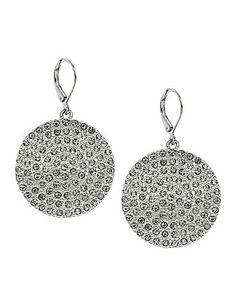 Eye-catching disc drop earrings take a shine to any look with a stunning display of rhinestones. Lever back closure. lanebryant.com