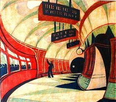 Cyril Power The Tube Station colour linocut Art And Illustration, Sybil Andrews, Linoleum Block Printing, Gcse Art, London Art, Wood Engraving, Linocut Prints, Travel Posters, Making Ideas