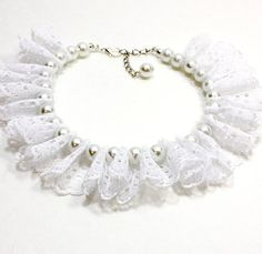 Are you having a wedding? Is your best friend in your wedding party? This white pearl and white lace ruffle dog collar is the perfect thing. Or can