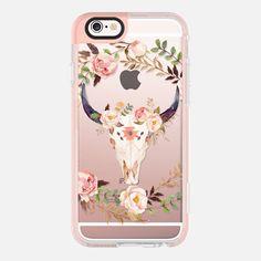 Watercolour Floral Bull Skull - Transparent - New Standard Pastel Case