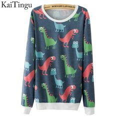 KaiTingu 2016 New Fashion Autumn Women Long Sleeve Tracksuit Hoodies Funny Cute Dinosaur Full Print Casual Pullover Sweatshirt  #purse #jennifiers #styles #fashion #beautiful #style #hair #model #stylish #beauty #outfitoftheday #makeup #cute #jewelry #outfit