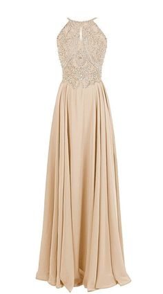champagne Floor-length Halter Neck Prom Dress with