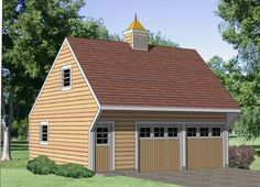 Garage Plan 94349 | Plan with 350 Sq. Ft., 1 Bedrooms, 1 Bathrooms, 2 Car Garage