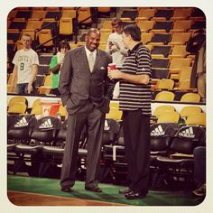 Celtics legends and former teammates Cedric Maxwell and Kevin McHale chat courtside before the game tonight.