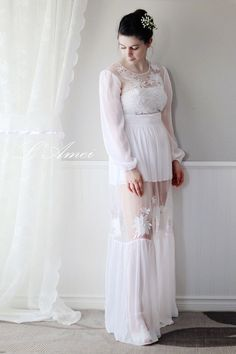 Long Sleeve Chiffon Wedding Dress with Sheer Skirt and by LAmei