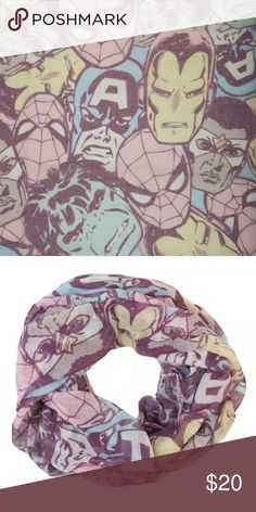 Avengers Marvel Comics Pastels Infinity Scarf This is for 1 Marvel Comics themed Infinity Viscose Scarf.  Theme:  Marvel Universe  - Officially Licensed Pattern: Pastel Marvel - Includes the Avengers, Ironman, Hulk, Spider-Man, Captain America, Falcon Brand: Bioworld Material: 100% Polyester  Makes a great gift!  CONDITION - New  Check my Posh for more scarves and more Marvel! Bioworld Accessories Scarves & Wraps