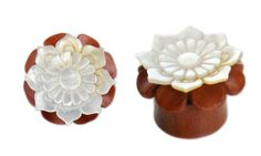 Pair-WOOD-Mother-PEARL-FLOWER-GAUGES-Plugs-Tunnels-Wooden-Carved-White-Organic-2