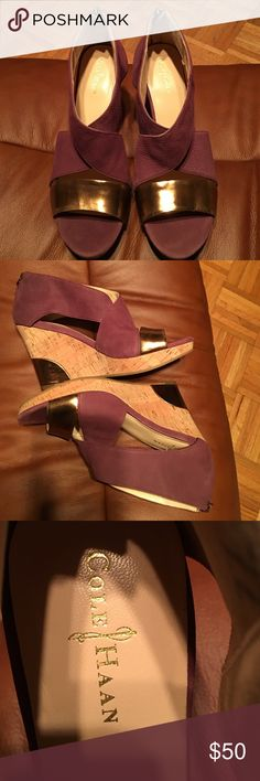 Cole Haan Purple Gold Wedges Stylish with perfect color-pairing for fall ! purple straps with gold band. Bought new from Posh, wore just once to work , not used to heels. Excellent condition. Nike Air ! Cole Haan Shoes Wedges
