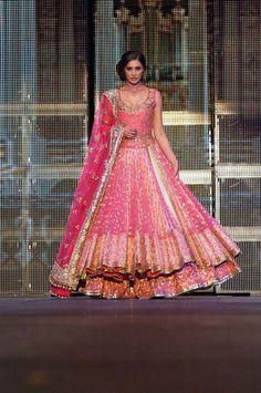 Doubled Layer Pink Bridal Lehenga Choli | eBay