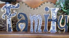 Family Fabric on Wood letters by 4allseasons on Etsy