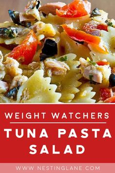 Weight Watchers Tuna Pasta Salad Recipe with tomatoes, celery, bell pepper, green onions, and salsa. An easy and delicious meal. MyWW Points: 4 Blue Plan and 5 Green Plan - 4 WW Freestyle Points and 5 SmartPoints. Tuna Salad Pasta, Pasta Salad Recipes, Seafood Recipes, Cooking Recipes, Healthy Recipes, Ww Recipes, Weight Watchers Pasta, Weight Watchers Pumpkin, Weight Watcher Dinners