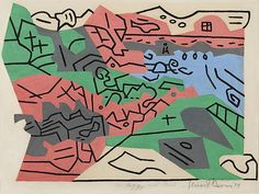 Stuart Davis, Bass Rocks #2, gouache on paper, 1939. The line versus edge investigation, begun in 1927, particularly, with the Egg Beater series, is applied to a seaside landscape. A major painting came of this, with a higher-keyed palette.