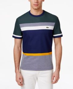 Lacoste Men'S Colorblocked Tee, Kelp/Deauville Blue