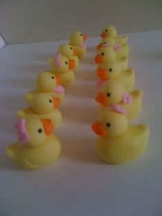 Rubber Duckies Cupcake Toppers, Perfect for Babyshowers or 1st birthdays!  www.HauteTart.Etsy.com