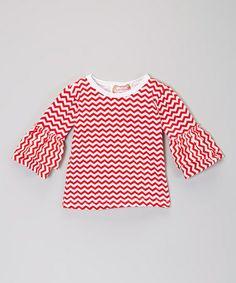 Look what I found on #zulily! Red Zigzag Ruffle Top - Toddler & Girls #zulilyfinds