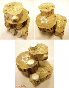 Three tiered naked wood candle holder.