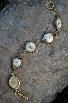 Recycled Vintage Jewelry Ladies Watch Bracelet by ShesCrafty121, $49.99