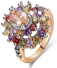 JIANGYUE Multicolor AAA Grade Cubic Zirconia Rhodium Rose Gold Plated Multi-Stone Ring for Women Girl Party Club Fashion Jewelry Size 5 6 7 8 9 10