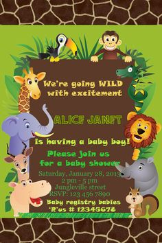 Jungle Animals Safari Baby Shower Invitation by ArtDepot9