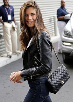 #street #style #sara #sampaio #chanel #leather #jacket