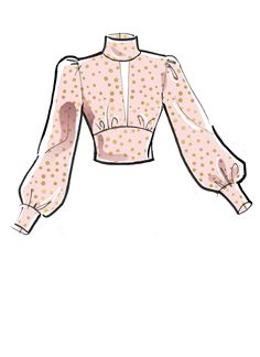 Fashion Design Sketches 721842646512884995 - Front opening, semi-fitted top has back button collar and opening, midriff sash ties in front or back. C: gathered collar, cuffs & midriff.