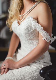 I love the sweetheart neckline on this all lace dress! It's perfect for pearl accents. by JoPhoto