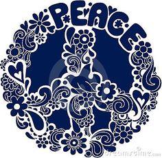 Psychedelic Peace Sign Silhouette Vector Illus Imagen de archivo de archivo libre - Imagen: 6616857