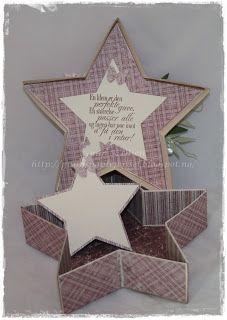 Gunns Papirpyssel, stjerne eske, star box, eske, kort, card, Maja Design, papirbretting, paperfolding, scrapbooking, scrapping, 3D, Ett trykk
