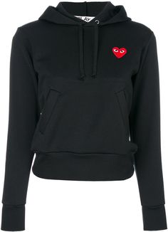 Black heart-patch hoodie from Comme Des Garçons Play featuring a front logo patch, a drawstring hood, long sleeves, two front pockets and long sleeves. Comme Des Garcons Play, Comme Des Garcons Hoodie, Play Hearts, Logos, Black Women Fashion, Womens Fashion, Casual T Shirts, Patch, Mode Style