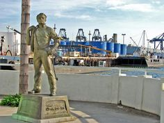 """General Phineas Banning is best known as the """"Father of Los Angeles Harbor."""" Sculptor Eugene Daubs created this seven-foot tall bronze statue portraying Banning with his sleeves rolled up and a coil of rope slung over one shoulder to capture his industrious nature."""