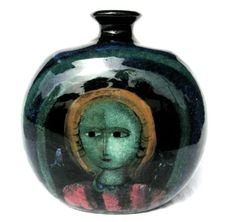 Polia Pillin Pictorial Vase. Pillin was born in Poland in 1909 and came to America in 1924. She produced her first art pottery in the early 1940's in Chicago. She and her poet husband moved to LA in 1948 where she worked from her small studio. She died in 1992.