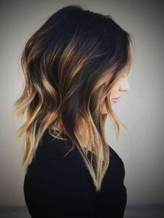 Image result for balayage for layered dark brown hair and platinum