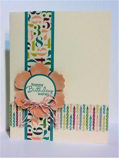 "Stamps: Petite Pairs Card Stock: Vanilla, Island Indigo, Cantaloupe Coord, Birthday Basics DSP Ink: Island Indigo Punches: Blossom, 1 3/8"" Circle, 1 1/4"" Circle Accessories: Calypso Coral Bakers Twine"