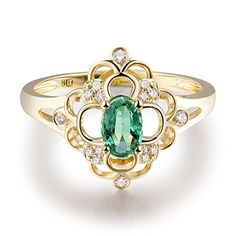 Solid 14Kt Yellow Gold Natural Green Emerald Real Diamond Wedding Ring