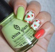 This summer heat and nails by have us craving some juicy watermelon! She used China Glaze shades 'Be More Pacific' and 'Treble Maker'. Christmas Nail Art Designs, Christmas Nails, Nail Polish Designs, Cool Nail Designs, Fun Nails, Pretty Nails, Fruit Nail Art, China Nails, Watermelon Nails