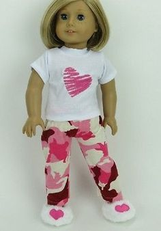 Pink-Heart-Camo-Doll-Clothes-Fits-18-034-American-Girl-Sleep-Pajamas-PJs-Slippers
