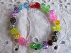 Teen Multicolored Beaded Stretch Bracelet by MesheleCrafts on Etsy