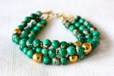 Emerald Green Bracelet Triple Strand Made With by fourhandsNYC, $60.00