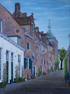 schilderij 80 x 60 cm olieverf op doek Muurhuizen in Amersfoort Secretarishuis met dieventoren www.adtolboom.nl