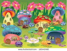 mushroom house drawing - Google Search