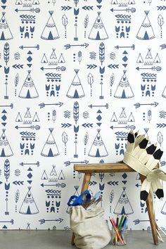 Hibou Home Children's Wallpaper from £70/roll. Teepees Wallpaper is a perfect backdrop for your little chiefs.