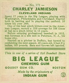 1933 Goudey #171 Charlie Jamieson Back