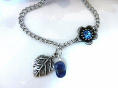 Silver Necklace Silver Leaf Necklace Blue Pendant by sewstacy, $22.00