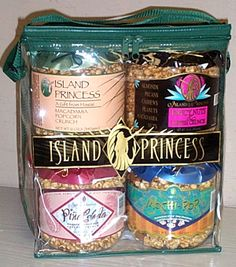 4 Jar Assortment of Caramel Popcorn Crunch, Fancy Nut Popcorn, Pina Colada Popcorn and Mochi Pop Popcorn